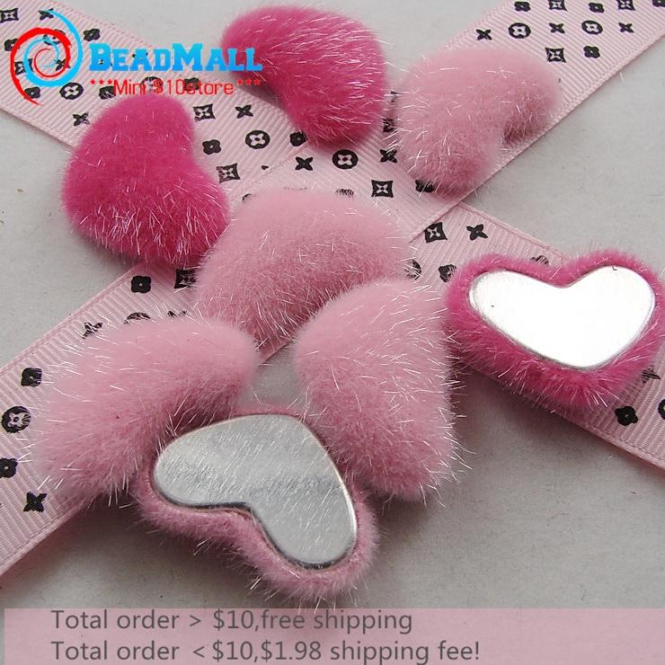 Min order $10 velvet fabric heart shaped plush stuffed rose/pink 100pcs button 24*33mm flatback garment accessories DIY119(China (Mainland))