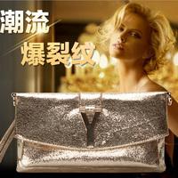 2014 Famous brand  day folding clutch ,women gold silver paillette envelope Y letter handbag,evening bag,party wallet