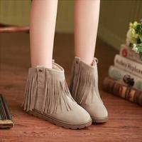 Winter fashion new boots round head flat boots sleeve tassel boots restore ancient ways women's boots