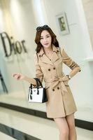 New Spring desigual women London Fashion  trench coat women lady Designer Brand Double Breasted trench Coat
