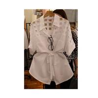 2014 new arrive summer women's shirt  organza splicing fashion shirt  long sleeve shirts Free shipping