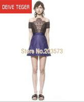 (DEIVE TEGER)blue Leather  sexy  lace embroidery mesh eye lash   Women summer  Dress party club dress  DT205
