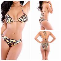 Free shipping Bow Leopard Printing Bra Bikini Set 2014 Women Fashion Swimsuit Ladies' Swimwear girl sexy ocean casual Beachwear
