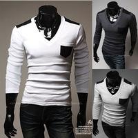Hot Hitz European and American Wild -Quality Fashion Casual Men's Long-Sleeved V-Neck T-Shirt TX233