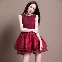 HOT 2014 Autumn Pearl water soluble embroidered organza layered dress casual Party Sexy Clothing Print Novelty Vintage Dresses