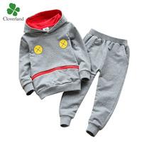 2014 new children's autumn clothing set spring and autumn sweatshirt + kids trousers 100% cotton sports set gray