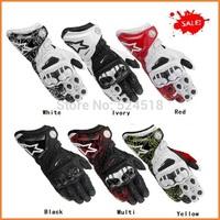 2014 FREE SHIPIPNG BRAND NEW Alpine/stars GP/PRO Original MEN'S Genuine Leather gloves Orange Driving Motorcycle Gloves