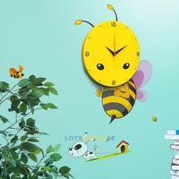LS4G 3D DIY Cartoon Bee Wall Clock Decal Sticker Real Clock Home Room Decor