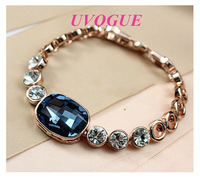 New arrival 18k rose gold plated top quality Austria SWA blue crystal vintage fashion bracelet Viennois jewelry (UVOGUE UB00160)