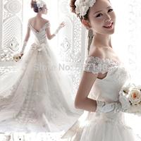 2014 Korean deep V Neck word shoulder tailing Princess Bride lace wedding dress wholesale price