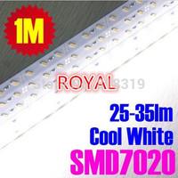 SMD 7020 Rigid LED bar tube Strip Light DHL  ship 200pcs/lot 1M DC12V 72leds 25-35LM High Lumen Cool White Color Nonwaterproof