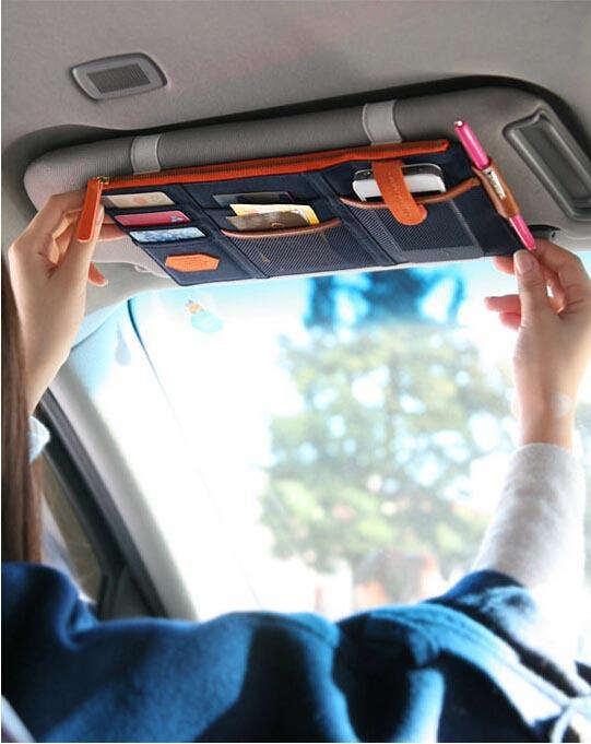 1PC retail High Quality Korea Style Car Sunvisor Multi Pocket