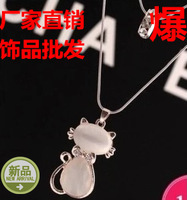Accessories small cat - eye pendant long necklace necklace design female