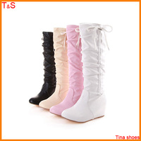 Large size 40 41 42 43 women tassel fashion winter boots wedge heel pleated snow boots sweet girls knee high boots CB80