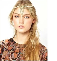 Top Fashion gold alloy chain pearl hand charm head bands hair accessories hair chain jewelry hairwear