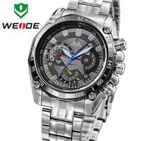 Original WEIDE Military Watches Men Sports Full Steel Quartz Watch Luxury Brand  Diving Watch Free Shipping WH1011Black