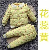 Retail 1 Set New 2014 Winter Kids Clothes Sets Children Baby Girls Long Sleeve Clothing Set Newborn Flower Print Suit CC1287