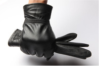 New fashion men's genuine leather glove whole Sheep skin glove thick warm  winter glove  Free shipping