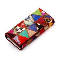 2014 new women wallets European fashion design hit color mosaic wallet Genuine lether long walliet