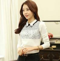 Camisa feminina autumn winter women Plus size blouse Slim Turn-down Collar Patchwork office shirts white long sleeve shirt women