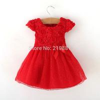 2014 Girls red party dress ,New Year dress , performing dress, girls tutu dress ,6pcs/lot   CZF03