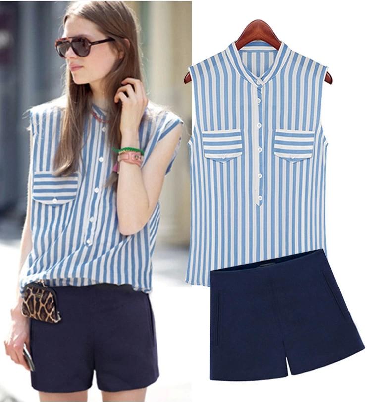 2014 Moda feminina listrada sem mangas Tops Blusa Camisas + Marinha Vestuário Cal?as curtas cintura alta azul Suit Define S0429(China (Mainland))