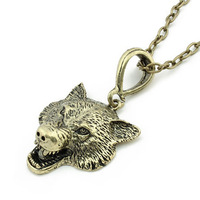In Europe and the trend of the punk wind restoring ancient ways personality Wolf long necklace sweater chain