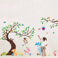free shipping wall stickers home decor art kids /nursery loving gift for baby room's wall stickers owl monkey  tree wall sticker