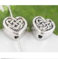 200Pcs Tibetan Silver Heart Spacer Beads 6x5.5x3mm