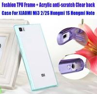 Fashion Beautiful TPU Soft Frame + Acrylic anti-scratch Clear back Case For XIAOMI Mi3 2/2S Hongmi 1S Hongmi Note NO: M005