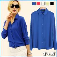 New Autumn Summer Women Long Sleeve Shirts Top Quality Chiffon Blouse Collar Shirt Tops S M L XL XXL