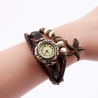 New Arrivals Fashion Women  Leather Vintage Watch bracelet Wristwatches butterfly starfish