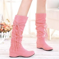 wholesale Fashion tassel nubuck leather  wedge Knee High Boots Sexy Ladies Dress Flat Shoes snow boots pink/black/yellow/brown