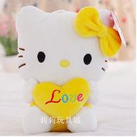 18cm yellow heart kitty hello kitty valentine gift kids toy girl's gift birthday gift one piece free shipping