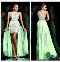 2014 Newest Sexy Front Short Long Back Party Evening Dress Sleeveless Embroidery Annual Meeting Dress Crystal Costumes