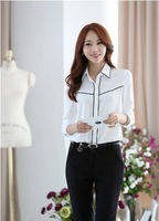 2014 spring and autumn new white Chiffon loose occupation long sleeved Shirt WO1070