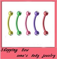 Eyebrow stud crystal  free shipping 100pcs/lot body piercing  jewelry stainless steele doubel gem plated titanium eyebrow bar