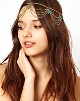Hair Accessories Turquoise Stone Charm Gothic Bohemian Boho Hair chain  Headband Hair Band Headwear