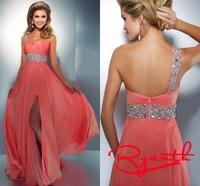 RBC762 Special High Slit Sweetheart One Shoulder Chiffon Long Prom Evening Dresses 2014 Summer Abendkleider