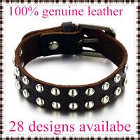 2014 fashion leather bracelets bangles for men  rivet top genuine cow leather 28 designs vintage punk wholesale & retail