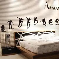 1 set/lot New 2014 Black Skateboarders Sport Bedroom Wallpapers for boys Livingroom Free Shpping