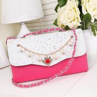 High quality PU fashion design summer women's handbag 2014 shaping bag casual one shoulder women's handbag bag with chain belt
