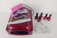 36W UV Curing Lamp Manicure File Block Buffer Gel polish Set Soak Off Gel Kit With Primer Base Top Coat