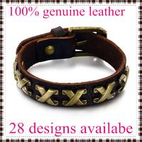 2014 fashion leather bracelets bangles for men roman numerals top genuine cow leather 28 designs vintage punk wholesale & retail