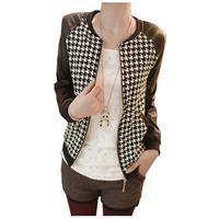 Casaco Femininos 2014 Autumn New Arrival Women Bomber Jacket PU splicing tops Plus Size woman clothes WO-035