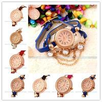 2014 Hot Bracelet  PU Leather Band Rhionestone diamond Bohemian Quartz women Dress watches