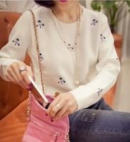 2015 new Korean Women explosion models snowman embroidered flowers sweet pleasant hedging sweater women