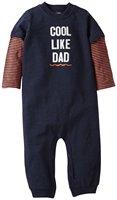 carter's baby boy big yards long sleeve cotton boxer Romper Navy