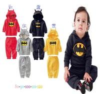 2014  free shipping cool boys Sets autumn-spring batman hoodie + pants two-piece Sport Clothe Hoodies Children 4 color
