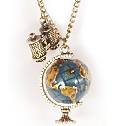 Americanos jóias Vintage miniatura telescópio Global Travel globo camisola cadeia colar pingentes e colares Jz1393(China (Mainland))